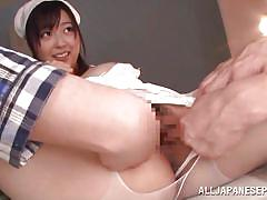threesome, handjob, japanese, nurse, japanese blowjob, brunette, censored, busty babe, j cos play, all japanese pass, mako mizuhara