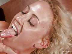 Tied blonde gets rough anal with cumshot