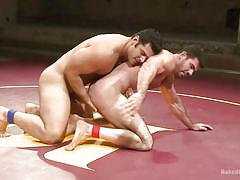 Hot men wrestle naked and then suck dick