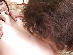 Slutty asian girl used by two angry men