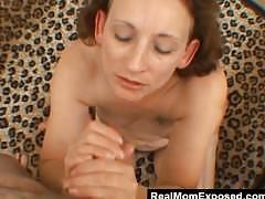 amateur, milf, pov, realmomexposed, point-of-view, mom, mother, pandora, blowjob, handjob, brunette, facial, bedroom, hairy