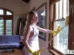 Hot freshmen babes forced to clean in the nude
