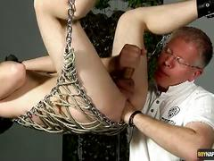 Twink slave aiden jason tied and fisted