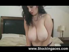 big tits, masturbation, milf, brunette, pov, stockingaces.com, busty, boobs, big-boobs, huge-tits