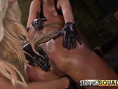Oiled and bound slut gets throated