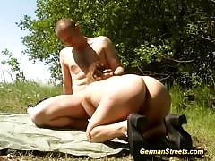 Redhead slut baited a guy to fuck her outdoors