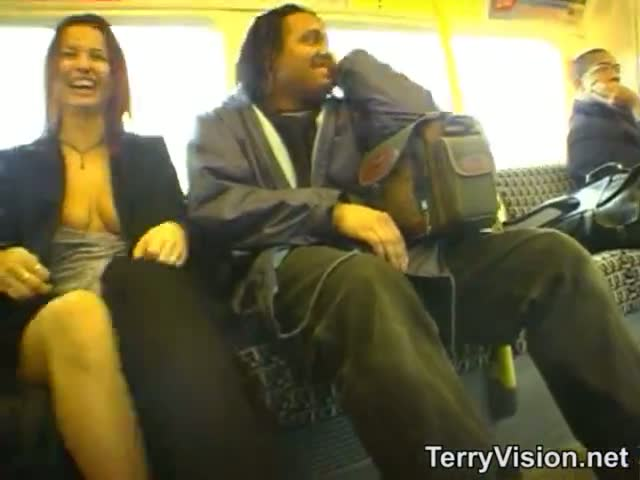 Public flashing on the train