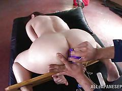 Asian slutwife gets tied and fucked with toys