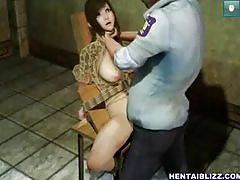 Bondage 3d hentai hard groupfucked in the jail