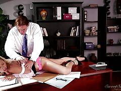 Teacher buries his face in her pussy