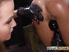 threesome, bdsm, babe, slave, vibrator, strapon femdom, in chains, sex dungeon, strapon squad, fetish network, isa mendez, lexy villa, brooklyn daniels