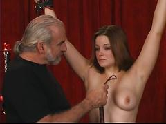 Master ties up young angelina and spanks her ass hard with a whip