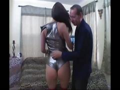 Brunette in hardcore anal sex with boots on