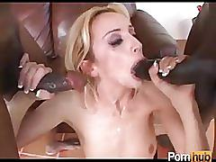 Girl gets pounded hard by two massive dicks