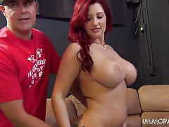 Redhead likes to ride and bounce