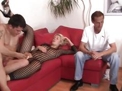 Beautiful blonde in catsuit is fucked by a stranger cuckold