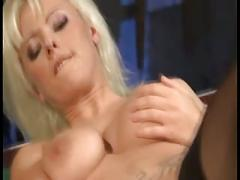 Blonde bitch gets nailed on pool table