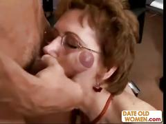 Grandmother fucks younger man in the office