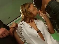 Sexy german nurse enjoys two big cocks in a hospital