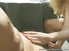 Sweet natural tits girlfriend gives good handjob