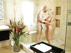 Perky blonde has bathroom sex