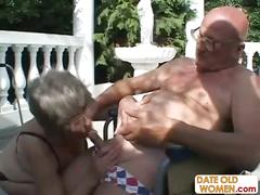 Old grandma sucks dick and fucks another dick