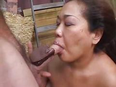 Asian bbw fucked on a barn
