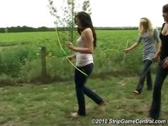 Bex, charlotte & debz play strip archery