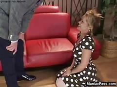 Milf on her knees to take dick