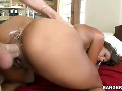Skinny ebony fucked by big white cock
