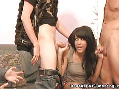 Tess is on her knees for multiple cocks