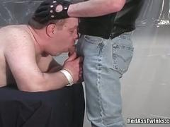 Tied fat daddy sucking pig master