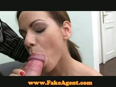 European brunette banged by fake agent