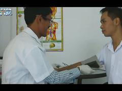 Horny asian gay doctor giving hot oral examination