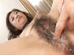 Pretty japanese mature's hairy cunt creampied