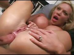 Busty blonde's double anal  dp