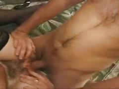 Hairy milf in stockings satisfied by cocks