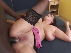 Big tit interracial fucking!