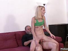 Father punishes son's gf with hard cock.
