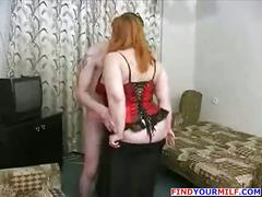 Fat bbw russian mature mom with son
