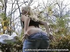 Adventurous blonde goes for public sex