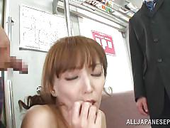 Skinny japanese girl groped in a train