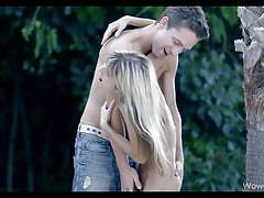 teens, small tits, blonde, skinny, pussy licking, outdoors, wow girls, gina gerson