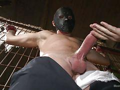 tattoo, redhead, tied, gay bdsm, masked, gay blowjob, threesome gay, bondage cage, men on edge, kink men, zane anders
