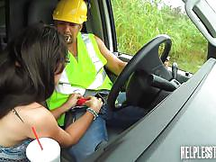 Nerdy teen gets plowed behind a van