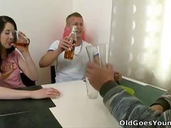 Brunette girlfriend olga fucks old man & her lover