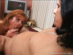 Hairy milf toying and fucking