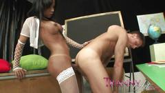 Tranny art shemale in white lingerie butt fucking a...