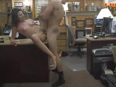 Hot brunette wife fucked in the backroom to earn extra money