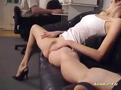 Flexible gymnast gets fucked on the couch and cumshot